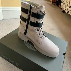 White double buckle timberland boots